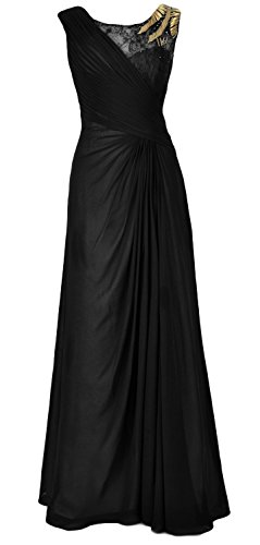 MACloth Women Chiffon Long Mother of the Bride Dress Formal Evening Party Gown Schwarz