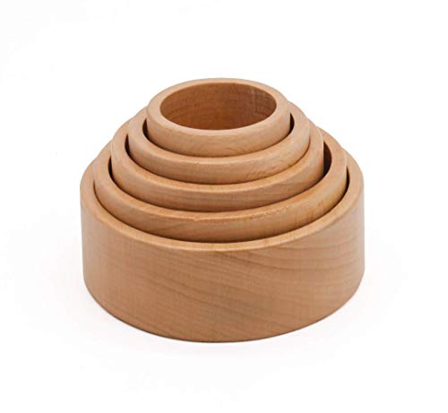 Wooden Stacking Shape Toys Baby Natural Cup Games for babies. Nesting Bowls sorting for young toddlers for age 1 year old. Gift for toddler boy and girl