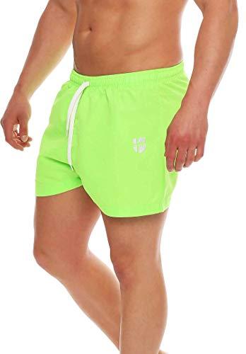 Gennadi Hoppe Herren Badeshorts kurz Badehose Strand Shorts Boardshorts,neon grün,X-Large