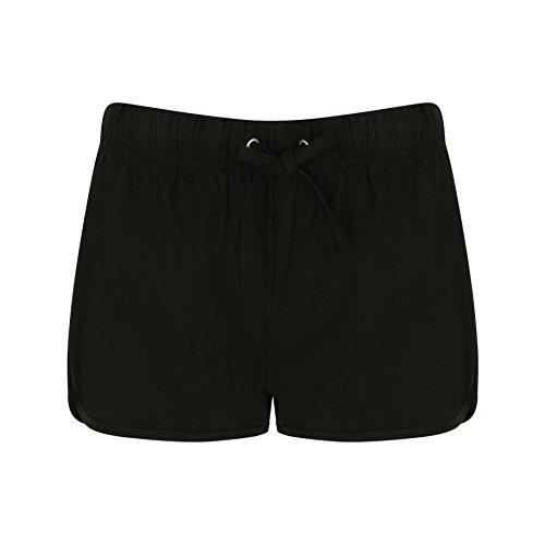 Skinni Fit Damen Sport-Shorts / Retro-Shorts (XL) (Schwarz/Schwarz) -