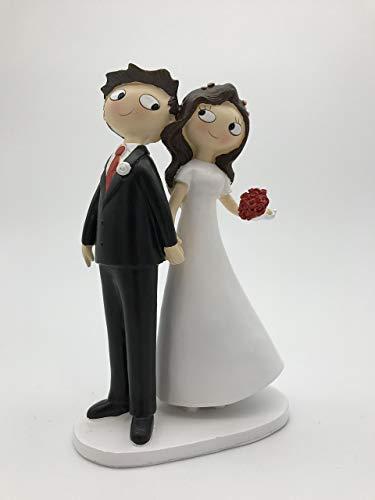 Figure for bridal couple couple hand pie, 21,5 cm, broken white