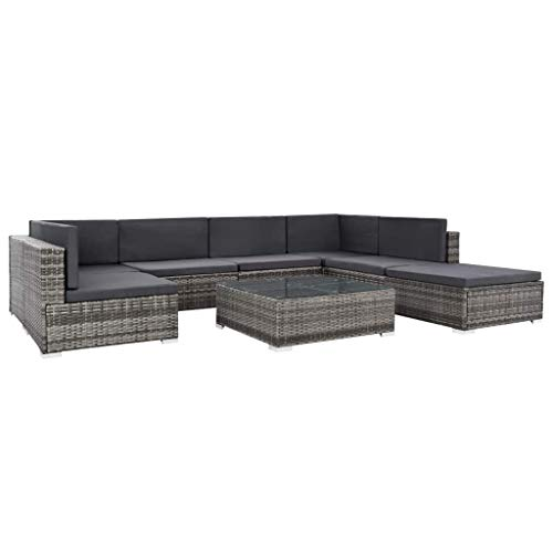 Tidyard Garten-Sofagarnitur 23-TLG.Gartenmöbel Lounge Set Sitzgruppe Gartengarnitur Gartenset Rattan Polyrattan Sitzgruppe Set Grau