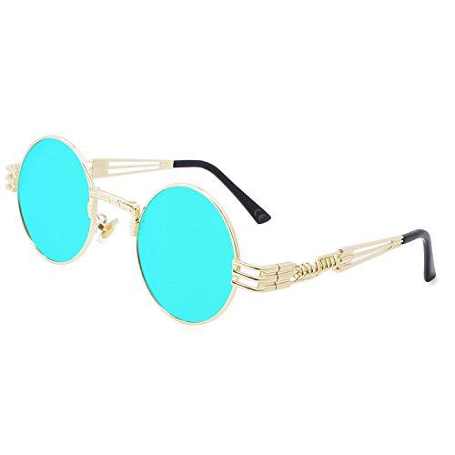 AMZTM Retro Steampunk Verspiegelt Sonnenbrille Klassischer Kreis Hippie Brille für Damen Herren Polarisierte Linse Runder Metallrahmen UV400 Schutz Alte Mode Brille (Golden Rahmen Eisblau Linse, 49)