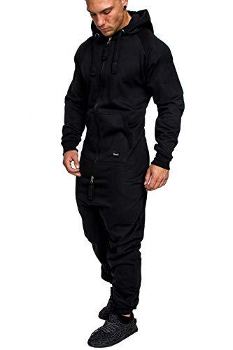 REPUBLIX Herren Overall Jumpsuit Jogging Cargo-Style Onesie Trainingsanzug Camouflage R-0026 Schwarz M