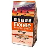 Monge - All Breeds Grain Free - Pienso para perro de pato y patatas, 12kg