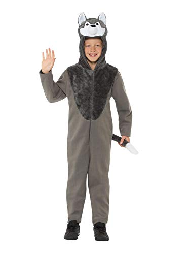 Kostüm Wolf Kind - Smiffys 49699M Wolfs-Kostüm, unisex, für Kinder, Grau, M - Alter 7-9 Jahre