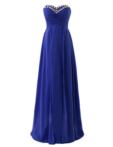 Dresstells Robe de cérémonie Robe de demoiselle d'honneur col en cœur sans bretelles longueur ras du sol Bleu Saphir