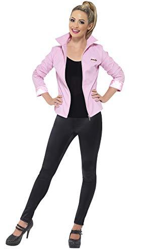 Smiffys, Damen Deluxe Pink Ladies-Jacke, Jacke und Namensschild, Grease, Größe: S, 25875 (Pink Grease Ladies-kostüm)