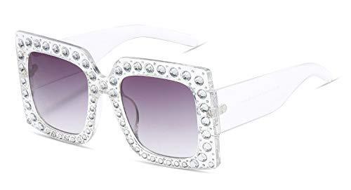 GFF Übergroße Diamant-Kristallquadrat-Sonnenbrille-Frauen-großer Rahmen-Marken-Glas-Designer-weiblicher UVschutz 45260
