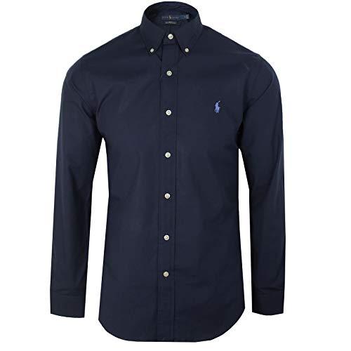 Polo ralph lauren long sleeve sport shirt camicia uomo slim fit-navy-m
