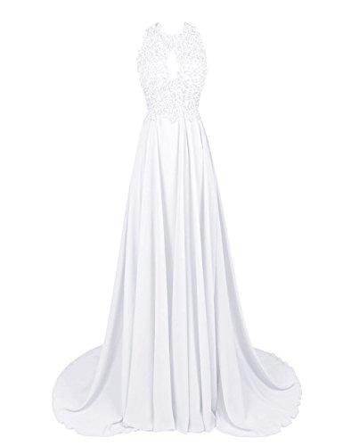 Dressystar Robe femme, Robe de soirée/gala longue,dos nu,à traîne,appliques en Mousseline Blanc