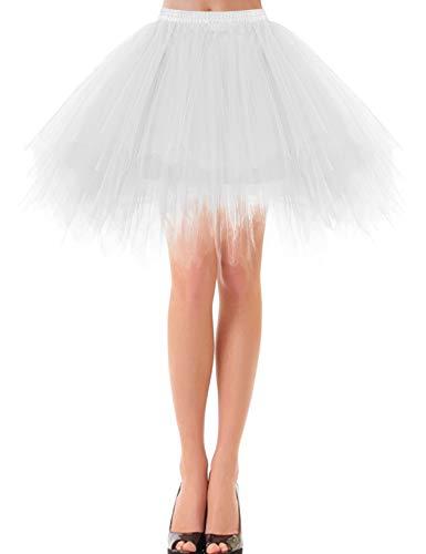 Bbonlinedress Kurz Retro Petticoat Rock Ballett Blase 50er Tutu Unterrock White L