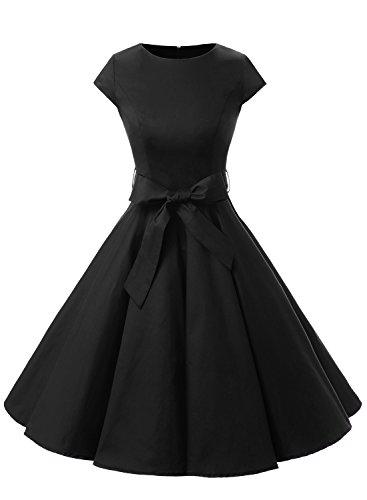 Dressystar Damen Vintage 50er Cap Sleeves Dot Einfarbig Rockabilly Swing Kleider L Schwarz