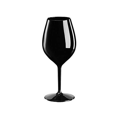 Sovie Servingware | Mehrweg Weinglas aus Tritan 510ml Schwarz | Trinkglas Glas Wasserglas Rotweinglas | 1 Stück