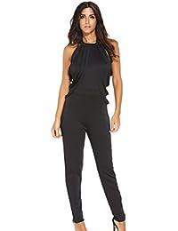 EOZY Femme Combinaison Sans Manche Pantalon Party Cocktail Jumpsuit Noir