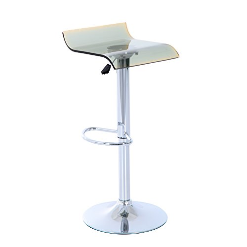 Homcom Acryl Bar Hocker Sitz Gasdruckfeder chrom Fußstütze verstellbar Drehstuhl (grau)