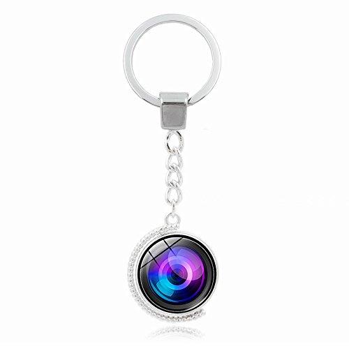 Schlüsselanhänger Rotierenden Globus Kameraobjektiv Zeit Edelstein Schlüsselanhänger Legierung Key Ring, S 9155 (Edelstein-globen)