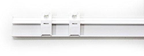 Rollmayer Weiß Paneelwagen Set aus Aluminium Universal mit Klettband (120 cm - mit Beschwerungsstange) wählbar 45-120cm, Rollwagen für Schienensystem/Schiebegardinen/Flächenvorhänge -