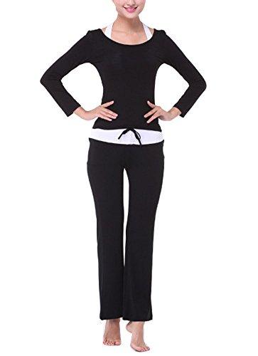 Abbigliamento Yoga Donna Tuta Da Ginnastica Sport Yoga + Training Pantaloni Nero