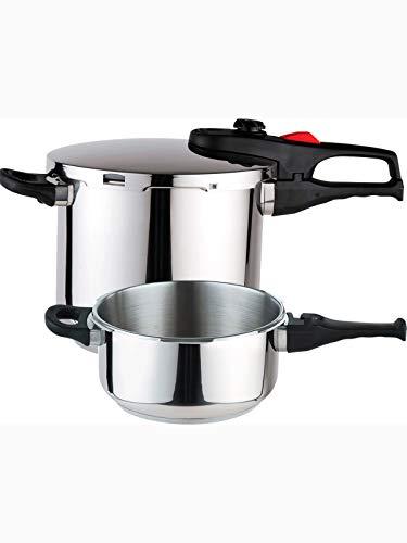 MAGEFESA PRACTIKA Plus Olla a presión Super rápida de fácil Uso, Acero Inoxidable 18/10, Apta para Todo Tipo de cocinas, Incluido inducción. Fondo Termo difusor encapsulado de 5 Capas(4L+6L)