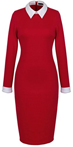 HOMEYEE Damen Office Ladies Bodycon Stretch Slim Collar Business Party Kleider 751 (42, Rot) (Baumwoll-stretch-office)