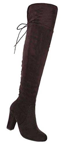 Damen Overknee Stiefel Schuhe Moderne Schwarz Dunkelbraun