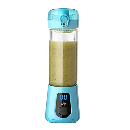 Batidora Personal Glass Juice Cup Portable, Electric Juice Cup, Mini Juicer De Carga USB 400Ml,Blue