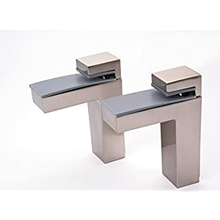 FENNEL UK 67.0115.0005 Stainless Steel Silver Metal Adjustable Wall Mounting Shelf Brackets Supports for Wood Glass Shelving from 8mm up to 50mm (1/One pair incl. 2/Two brackets) complete with fittings FREE UK DELIVERY ON ORDERS OVER £20.00