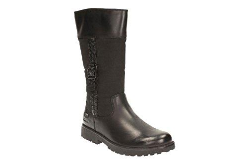 Clarks Rheago Gtx Jnr, Bottes Fille Noir (Black Leather)