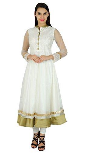 Bimba Frauen Nobel Anarkali Kurta Weiß Netto-Long-Braut Maxi Formale Partei Indischen Brauch Kleid Kurti (Netto-long-kleid)