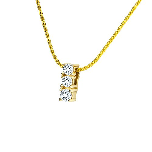 Diamond Line Damen - Halskette 585er Gold 3 Diamanten ca. 0,12 ct, gelbgold