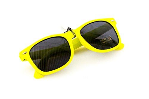 Wayfarer Nerd-Brille Gelb Sonnen-Brille ohne Sehstärke 15cm Herren Damen Unisex Panto-Brille...