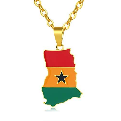 Nationalen Land Kostüm - Afrika Ghana Karte/flagge Anhänger Halskette Für