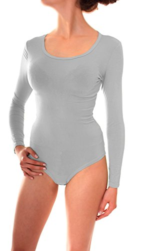 Body Fashion (Damen Body Anzug Unterziehbody Wäsche Viskose Langarm Rundhals Ausschnitt Uni One Size Hellgrau)