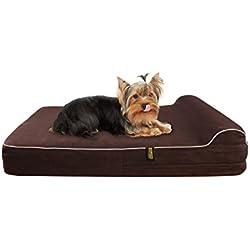 KOPEKS Cama Mediana para Perros Medianos y Pequeños Mascotas con Memoria Viscoelástica Ortopédico 63 x 50 x 10 cm más la almohada - M - Marrón