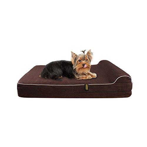 KOPEKS Klein - Mittel Hundebett für S und M Hunde Orthopädischer Schaumstoff mit Formgedächtnis 63 x 50 x 10 (cm) Plus das Kissen - S - M - Dog Bed Brown Therapeutische Matratze