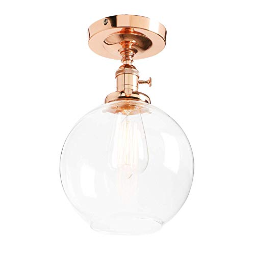Industrial Vintage Modern Flush Mount Switch Ceiling Lamp Loft Bar Edison Pendant Light Chandelier with Globe Clear Glass Light Shade E27 (Brushed),Copper