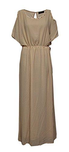 """Robe longue manches courtes """"FYONA"""" Taille Unique Beige"""