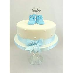 Baby Shower, bautizo bebé brillantes, Claydough decoración para tarta para bebé, patucos lazo y cinta a juego Set