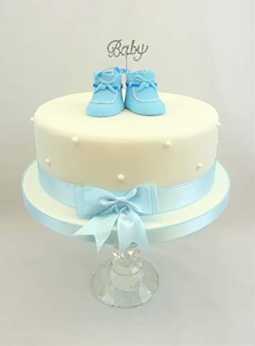 Pack incluye 1diamante bebé 5cm en una foto de 10cm en empuja hacia el, 1Par para tarta, bebé azul botines con nombre y fecha detalle 5cm x 4cm) cada Bootie con cinta y lazo a juego 1x 1,5m Color Azul Doble Cara 25mm de cinta y lazo 1x 1.5...