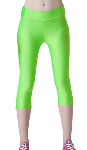 Bigood Femme Pantalon 3/4 Harlan Leggings Collant Elastique Slimmer de Sport Vert
