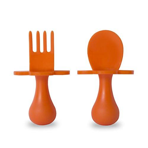 Grabease: patented self-feeding baby cutlery set; baby-led weaning easy and fun (orange set)
