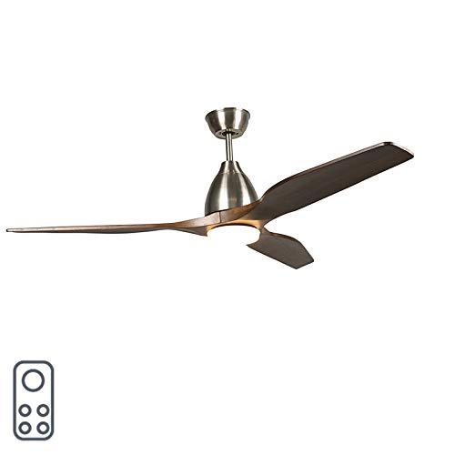 QAZQA Moderno Ventilador de techo con luz y mando a distancia de madera con LED con control remoto - Levant 52 /Acero Redonda Incluye LED Max. 1 x 18 Watt