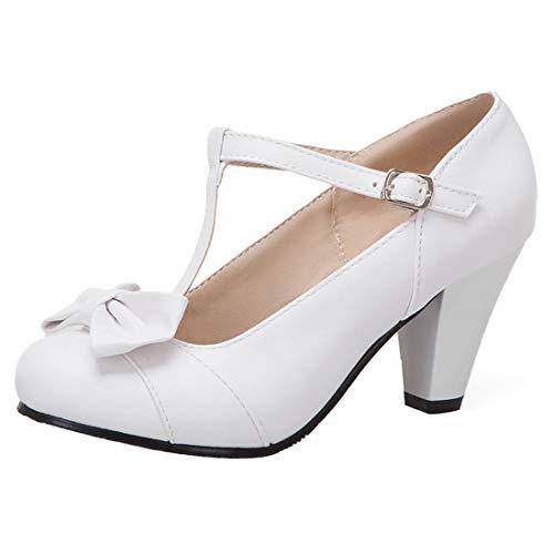 KIKIVA Damen T-spangen High Heels Mary Jane Pumps mit Blockabsatz und Schleife Rockabilly Schuhe(Weiß,41) - Heel Mary Jane Pump