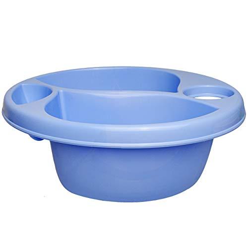 3 Kammer - Schüssel / Waschschüssel / Kinderwaschbecken - blau - Bieco - mit Seifenablage - Organizer - Reinigungsmittel Aufbewahrungsbox - Pflege - Camping -.. ()