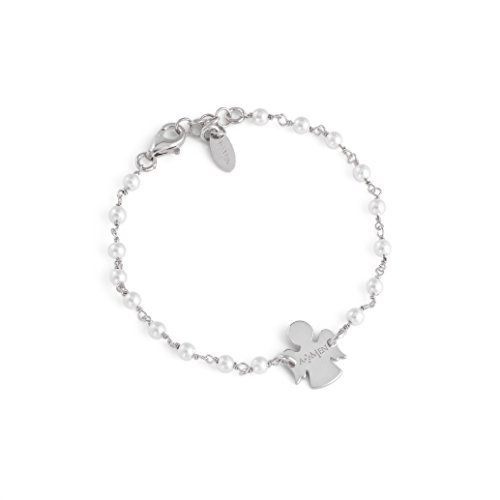 Bracciale Junior Angeli AG925 e Perle Swarovski, Colore: Rodio - Amen Collection