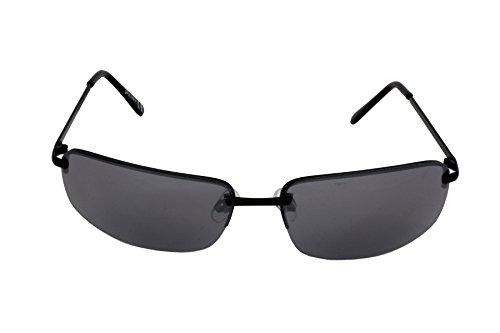 Foster Grant SPVL 14914 FG113 Unisex Halbrandlose Rechteckige Sonnenbrille Schwarz Metall Rahmen & Arme Schwarze UV400 Gläser 100% UV Schutz CAT 2