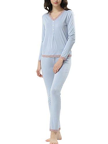 Ensemble de Pyjama à Manches Longues - Pyjamas Col V Hiver Femme Bleu