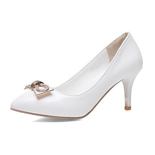 AgooLar Damen Rein Lackleder Mittler Absatz Ziehen Auf Spitz Zehe Pumps Schuhe Weiß