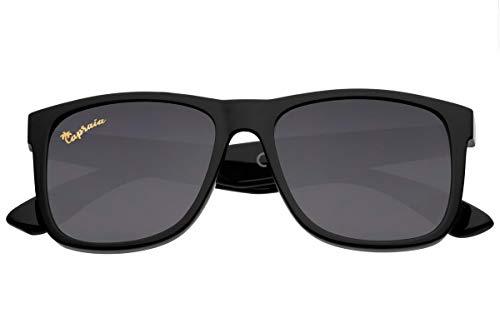 Capraia Rovello Classic Sunglasses Ultra Light High Quality TR90 Sportive Black Frame and Black Polarised Lenses UV400 protected for Men